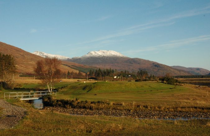 "This photo shows a view across Lochcarron golf course with the distinctive shape of ""Wellington"" in the background and was taken on a superb winter's day just a week before Christmas."