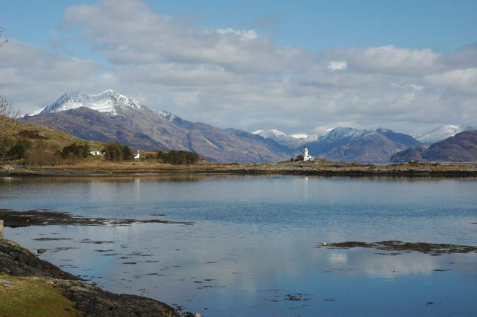 This photo shows the view back to the mainland as seen from Isleornsay on the Sleat peninsula on the Isle of Skye. This was a superb day in April with a good covering of winter snow still to be seen on the upper slopes of Beinn Sgritheall.